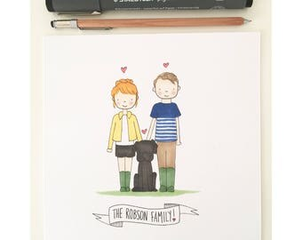 Custom family portrait - Personalised hand drawn illustration