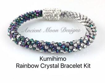 Kit, Kumihimo Rainbow Crystal Bracelet