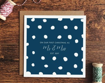 Our First Christmas As Mr And Mrs Card - choice of 3 colours