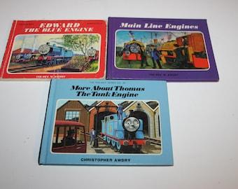 Thomas the Tank Engine stories, three small books, illustrated picture books, trains railways, Rev Awdry