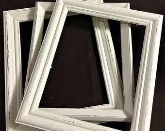 White Distressed Picture Frame | 8x10 - 5x7- 4x6 - 11x14 || Re Purposed  frame | Distressed | Frame | Chalk Paint | #0002