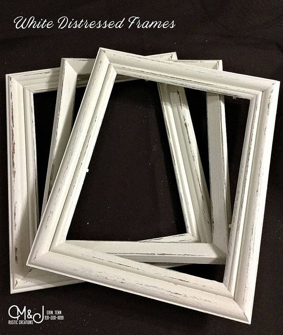 White Distressed Picture Frame   8x10 - 5x7- 4x6 - 11x14    Re Purposed  frame   Distressed   Frame   Chalk Paint   #0002