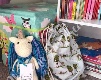 Drawstring bag, cute woodland bag, kids bag, childrens bag, clothes bag, shoe bag