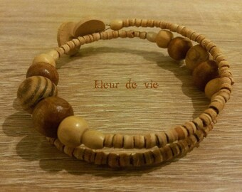TRIBAL WOOD SPIRAL BRACELET