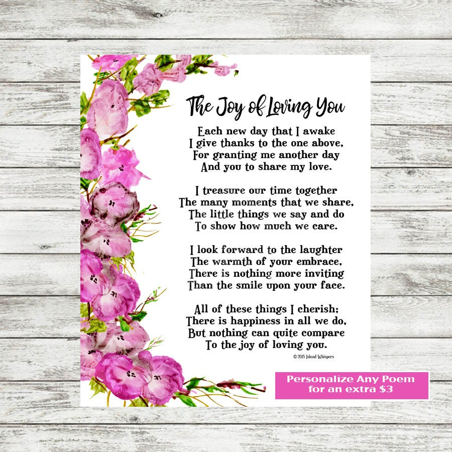 Valentine Poem I Love You Wife Poetry Print