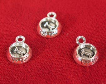 "BULK! 30pc ""dog bowl"" charms in antique style silver (BC1304B)"