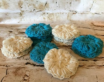 face scrubbies, crochet face scrubbies, handmade scrubbies, gifts for her, makeup tools, handmade makeup tools, bridal gift, Christmas gifts
