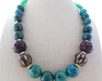 Green chrysocolla and agate necklace, chunky choker, carved wood necklace, exotic necklace, beaded necklace, ethnic jewelry, summer jewelry