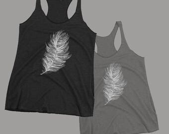 Feather Tank - Hand Drawn Graphic Tank - Graphic Tee- Graphic Tank Top