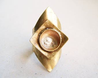 Shield Brass Ring Size 7 1/2, Contemporary Ring, Open Ring, Adjustable Ring, One of a kind, Wide Ring, Eccentric Ring, Sterling silver