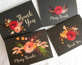 Thank You Card 8 Pack Watercolor Flowers Red / Orange / Charcoal