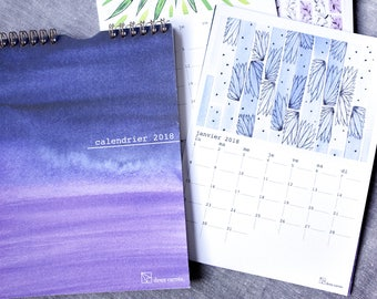 2018 wall calendar in French, wire bound, watercolor and graphic illustrations, drawings and patterns