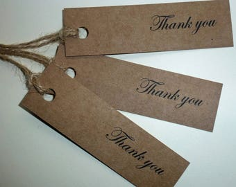 Vintage Style 'Thank you' Kraft Gift Tags labels, Wedding favors,