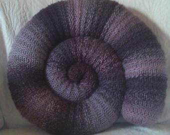 Purple striped Ammonite cushion