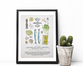Custom Recipe Illustrated Poster (UNFRAMED)