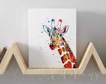 Giraffe Gallery Wrapped Canvas Art Print, Safari Animal Nursery Wall Decor, Baby Shower Gift, Kids Bedroom Canvas Wall Art, B2G1 Free, No. 4