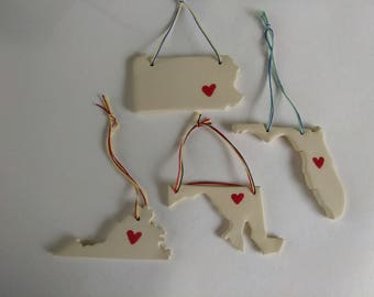 State Ceramic Ornaments, Maryland, Florida, Pennsylvania, Virginia, States, Ornaments, Ceramic, Christmas ornaments, tree decorations, state