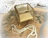 50s Square Gold Filigree Jewelry Box - Velvet Lined - Ormolu Jewelry Casket - Mid Century Hollywood Regency Beauty - Elegant