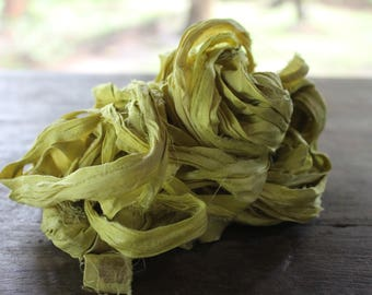 Recycled Sari silk ribbon - Caterpillar
