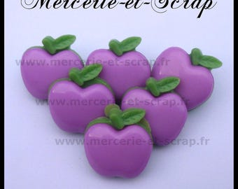 Set of 6 wood Apple violet purple Green 20mm Plastic fruit buttons