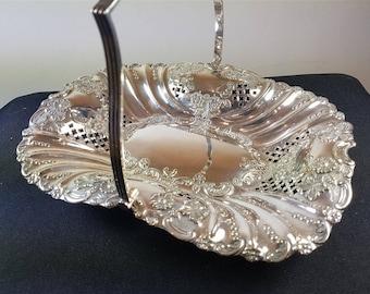 Antique Silver Plated Bread Serving Basket Hallmarked Glasgow Scotland