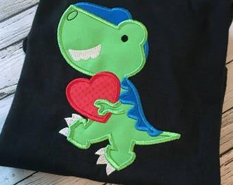 dinosaur applique - valentine applique - holiday applique - T Rex applique - boy applique - applique design - machine applique