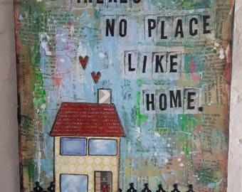 There's no place like home canvas art mixed media glitter collage OOAK