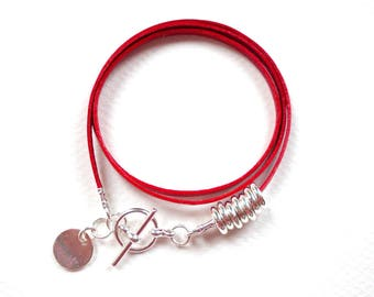 Leather wrap bracelet, silver plated charm friendship bracelet, red leather bracelet, girls friendship bracelet, BFF bracelet