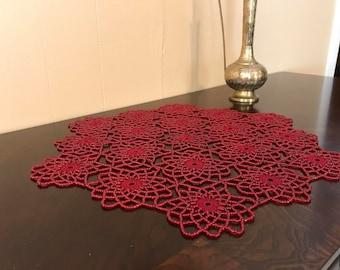 Hand Made,Red,Crochet Beaded Doily