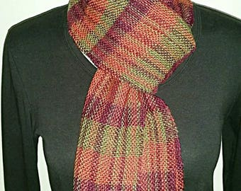 Wool and silk hand spun, hand woven,  scarf