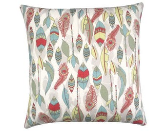 Pillowcase CHEYENNE Federprint natural red ice blue olive yellow 40 x 40 cm