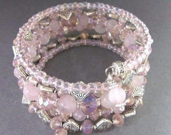Rose Quartz and Crystal Memory Wire Wrap Bracelet
