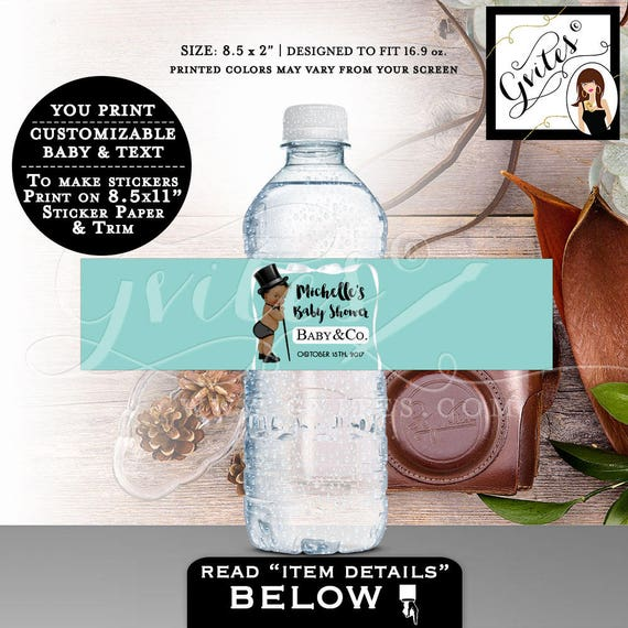 """Water bottle labels, personalized label, breakfast at baby and co BABY SHOWER, African American boy custom water decal. 8.5x2"""" 3 Per/Sheet."""
