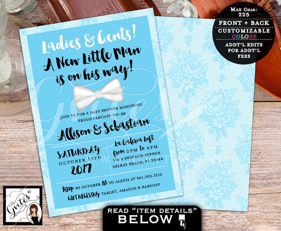 Little Man BABY SHOWER Invitation, bow tie baby shower invitations, bowtie invites baby boy, baby blue, PRINTABLE, 5x7 double sided.