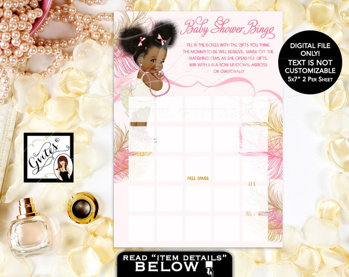 Baby Shower Bingo Card Game, Pink & Gold African American Baby Girl Afro Puffs, ivory blush pink gold glitter. 5x7/2 Per Sheet. #RBNAPU004