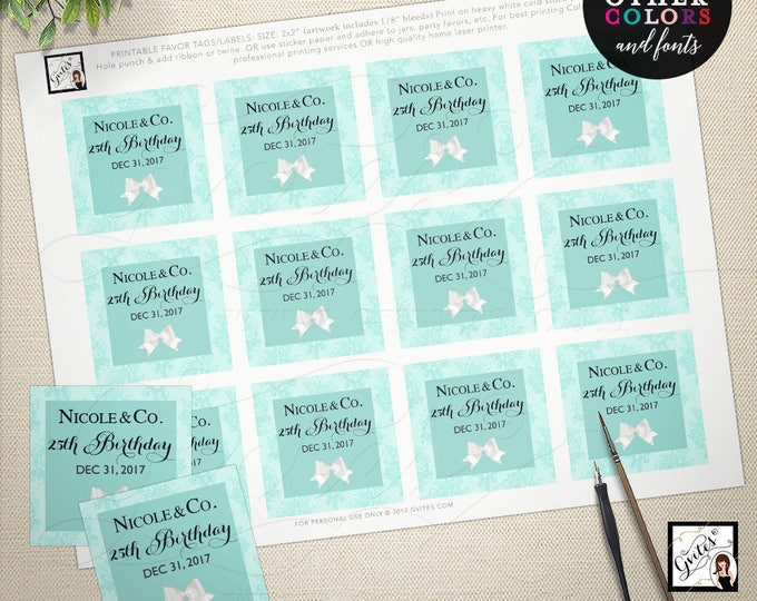"Tiffany favor tags, birthday breakfast at co, party decorations, toppers, labels, gifts favor birthday, 2x2"" 12/Per Sheet. PRINTABLE"
