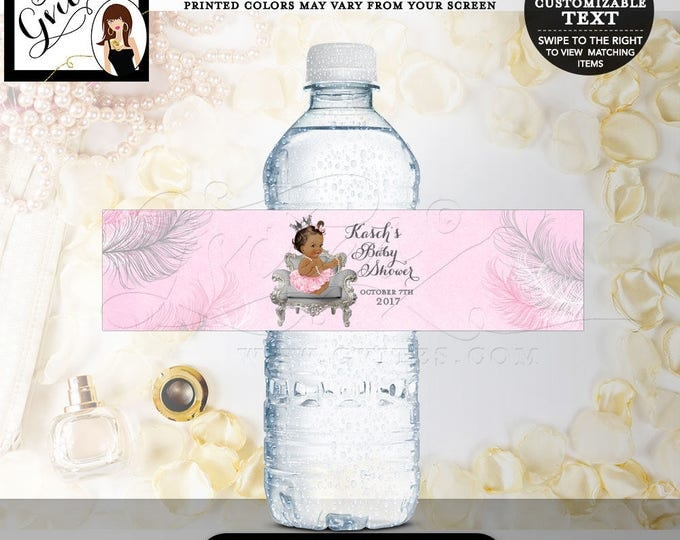 "Pink and Silver Water Bottle Labels, Princess labels CROWN Baby Shower Water Bottle Labels, stickers, bottle wrappers, 8x2"" 5 Per/Sheet"