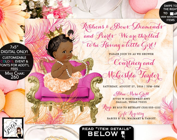 Pink and Orange baby shower invitation, orange pink and gold princess african american baby gold crown, elegant baby invites, PRINTABLE DIY.