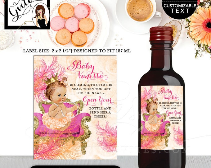 "MINI Wine Labels Baby Shower, the time is near, favors gifts, stickers party bottle wrappers, label, diy, digital {2x2.5"" 12 Per/Sheet}"