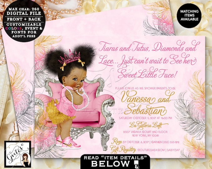 Pink Gold & Silver baby shower invitation, tiaras tutus diamonds pearls vintage invites, afro puffs, DIGITAL 7x5 Double Sided. #TIAACP-006GS