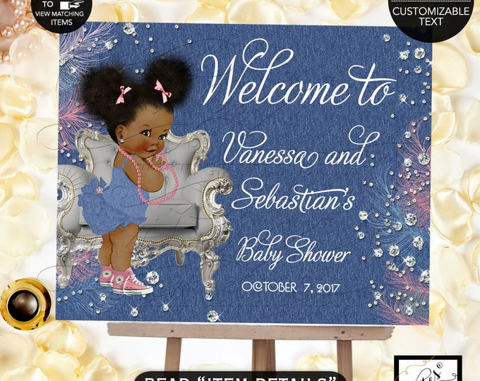 Denim & Diamonds Welcome baby shower sign, baby banner, baby shower sign, baby girl, banner. Pink blue and silver.