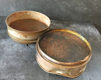 2 Vintage industrial brass sieve~US standard testing~ stackable repurpose decor from MilkweedVintageHome