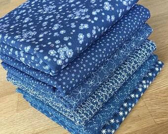 Matilda in Sapphire Blue Quilting Fat Quarter Bundle by Indigo Fabrics 100% cotton