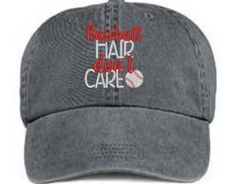 Embroidered Baseball Hat/ Baseball Hair Don't Care Hat/ Messy Hair Hat/ Baseball Hat/ Pigment Dyed Baseball Hat/ Baseball Mom Hat/Distressed
