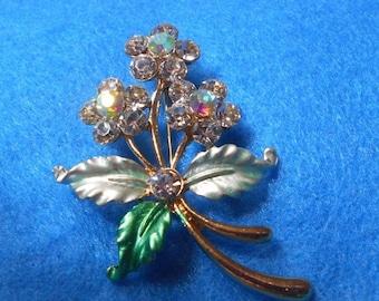 SALE Crystal Flower Bouquet Brooch