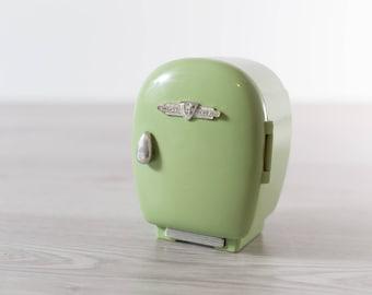 1987 Beetland Mini Fridge / Vintage Mint Green Mini Retro Dollhouse Refrigerator / Office Desk Organizer