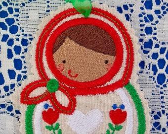 Christmas~Holiday~Gift~Decor~Ornament Traditional Russian Style Mamushka~Babushka Doll in Red Green & White Machine Embroidered