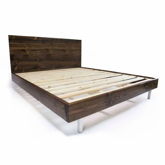 Platform Bed Frame and Headboard Set with Metal Legs Modern