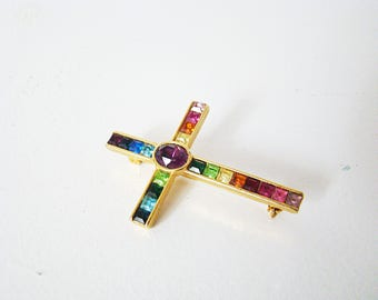 RAINBOW Brooch Pin Vintage PSCO 1998 Rainbow Crystals Pride Collection Gold Plated Stone Rainbow
