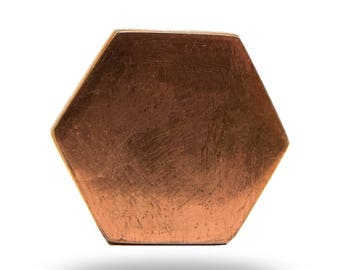 Hexagon Shaped Copper Metal Cabinet Handle, Cupboard Door Knob or Dresser Drawer Pull, Decorative Cabinet Hardware for a Modern Home Decor